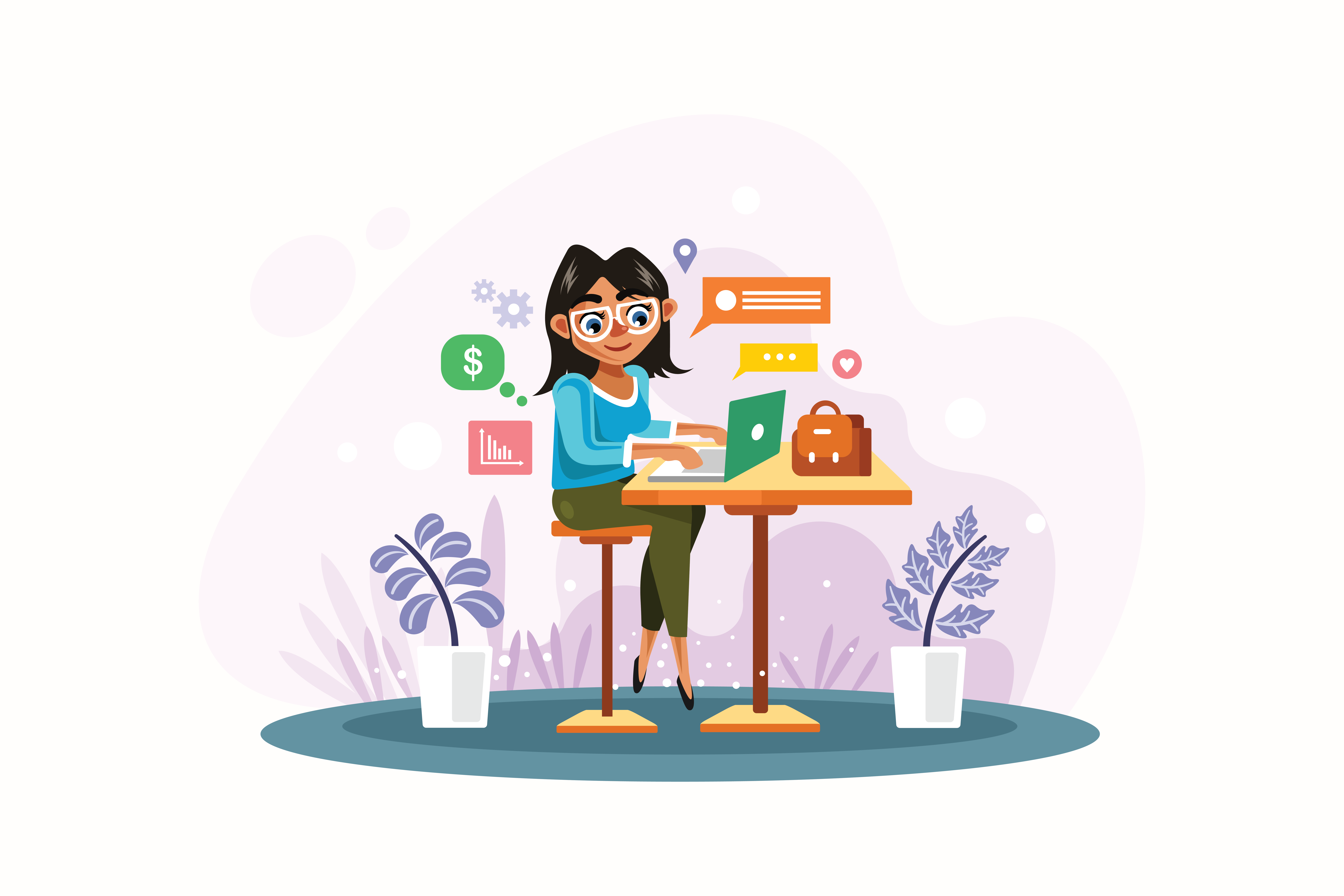 Woman-is-Working-with-Laptop-Vector-Illustration